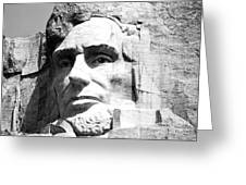Close Up Of President Abraham Lincoln On Mount Rushmore South Dakota Black And White Greeting Card