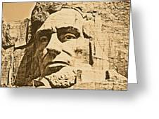 Close Up Of President Abraham Lincoln On Mount Rushmore South Dakota Rustic Digital Art Greeting Card