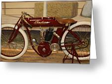 close up of red Indian motorcycle   # Greeting Card