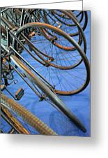 Close Up On Many Wheels From Bicycles  Greeting Card