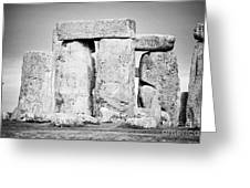 Close Up View Of Circle Of Sarsen Stones With Lintel Stones Stonehenge Wiltshire England Uk Greeting Card