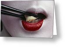 Close View Of A Geisha Eating Tofu Greeting Card by Chris Johns