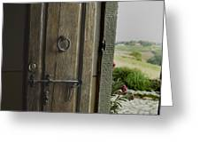 Close View Of A Wooden Door On A Villa Greeting Card