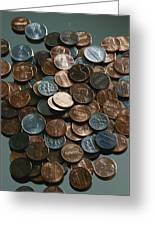 Close View Of United States Coins Greeting Card