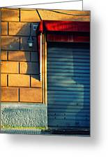 Closed Shop Door At Sunset Greeting Card