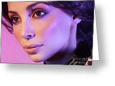 Closeup Beauty Portrait Of Woman Face In Colored Purple Light Greeting Card