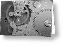 Closeup Macro Of Clock Mechanism Greeting Card