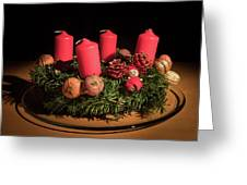 Closeup Of An Advent Wreath, Unlit Candles Greeting Card