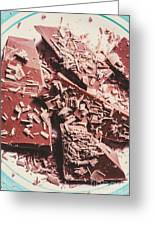 Closeup Of Chocolate Pieces And Shavings On Plate Greeting Card