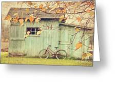Closeup Of Leaves With Old Barn In Background Greeting Card