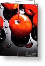 Closeup Of Red Candy Apple On Stick Greeting Card