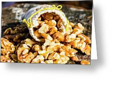 Closeup Of Walnuts Spilling From Small Bag Greeting Card