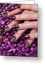 Closeup Of Woman Hands With Purple Nail Polish Greeting Card