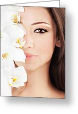 Closeup On Beautiful Face With Flowers Greeting Card by Anna Om