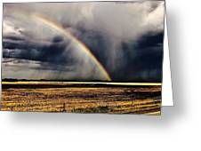Cloud Burst And Rainbow Early Spring Storm Greeting Card