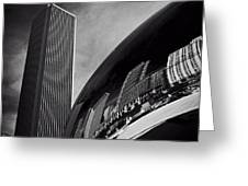 Cloud Gate And Aon Center Black And White Greeting Card