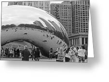 Cloud Gate Chicago Bw 2 Greeting Card