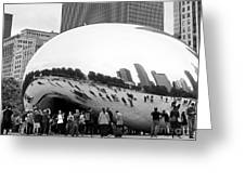 Cloud Gate Chicago Bw 4 Greeting Card