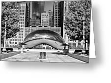 Cloud Gate Park Black And White Greeting Card