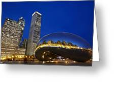 Cloud Gate The Bean Sculpture In Front Greeting Card