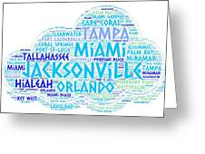 Cloud Illustrated With Cities Of Florida State Greeting Card