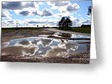 Cloud Reflection In Puddle Greeting Card