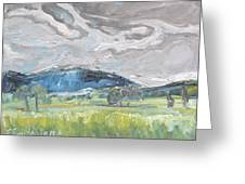 Clouded Sky Over Woburn Quebec Canada Greeting Card