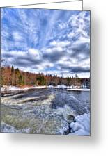 Clouds Above The Lock And Dam Greeting Card