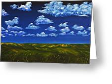 Clouds And Grass Field Greeting Card