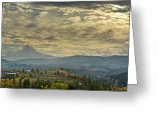 Clouds And Sun Rays Over Mount Hood And Hood River Oregon Greeting Card