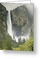 Clouds Hang Over Bridaveil Falls Greeting Card
