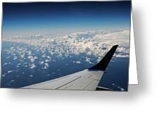 Clouds Under An Airplane Wing Greeting Card