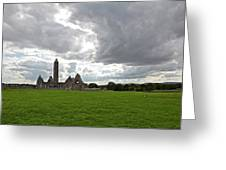 Clouds Over Kilmacduagh Abbey Greeting Card