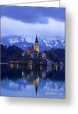 Clouds Over Lake Bled Greeting Card