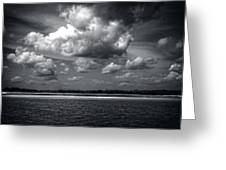 Clouds Over Masonboro Island In Black And White Greeting Card