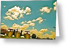 Clouds Over Oil Field Equipent Greeting Card