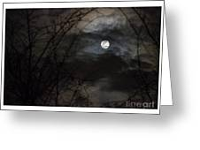 Clouds Passing The Snow Moon Greeting Card