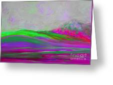 Clouds Rolling In Abstract Landscape Purple And Hot Pink Greeting Card