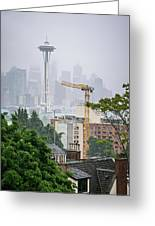 Cloudy And Foggy Day With Seattle Skyline Greeting Card
