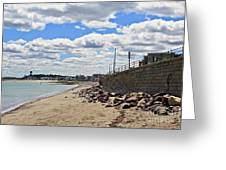 Cloudy Beach Greeting Card by Extrospection Art