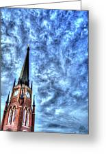 Cloudy Cathedrial Painting Greeting Card