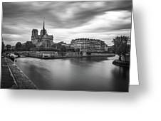 Cloudy Day On The Seine Greeting Card