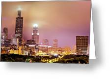 Cloudy Downtown Chicago Skyline Greeting Card by Gregory Ballos