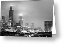 Cloudy Downtown Chicago Skyline In Black And White Greeting Card by Gregory Ballos