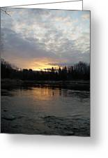 Cloudy Mississippi River Sunrise Greeting Card