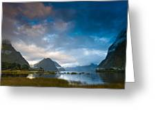 Cloudy Morning At Milford Sound At Sunrise Greeting Card