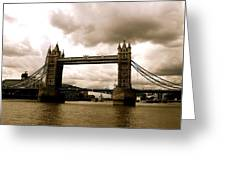 Cloudy Over Tower Bridge Greeting Card