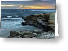 Cloudy Sunset At La Jolla Shores Beach Greeting Card