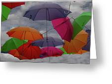Cloudy With A Chance Of Umbrellas Greeting Card