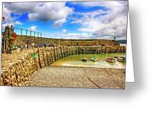 Clovelly Harbor Breakwater In Devon, Uk Greeting Card